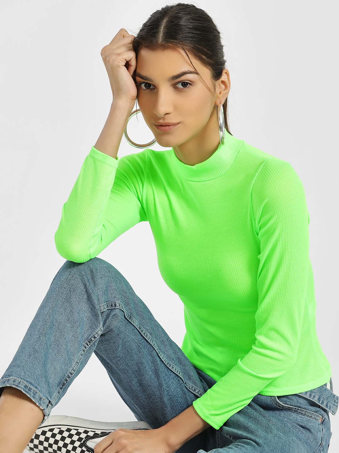 Quiz Green Ribbed Turtleneck Long Sleeve T-Shirt 1