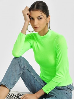 Quiz Ribbed Turtleneck Long Sleeve T-Shirt
