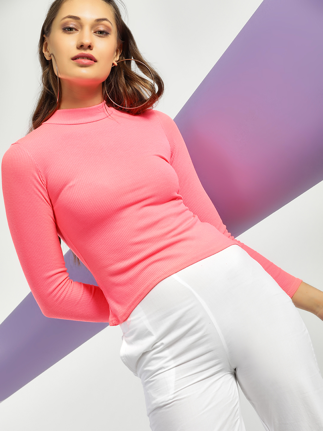 Quiz Pink Ribbed Turtleneck Long Sleeve T-Shirt 1