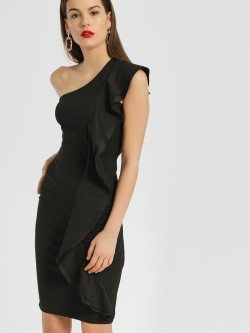 Quiz One Shoulder Frill Bodycon Dress