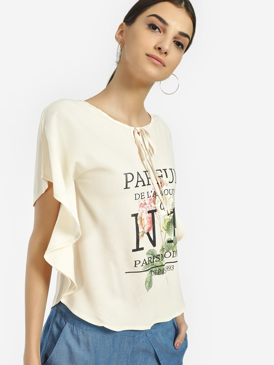 Jealous 21 Ivory Rose Text Print Butterfly Top 1