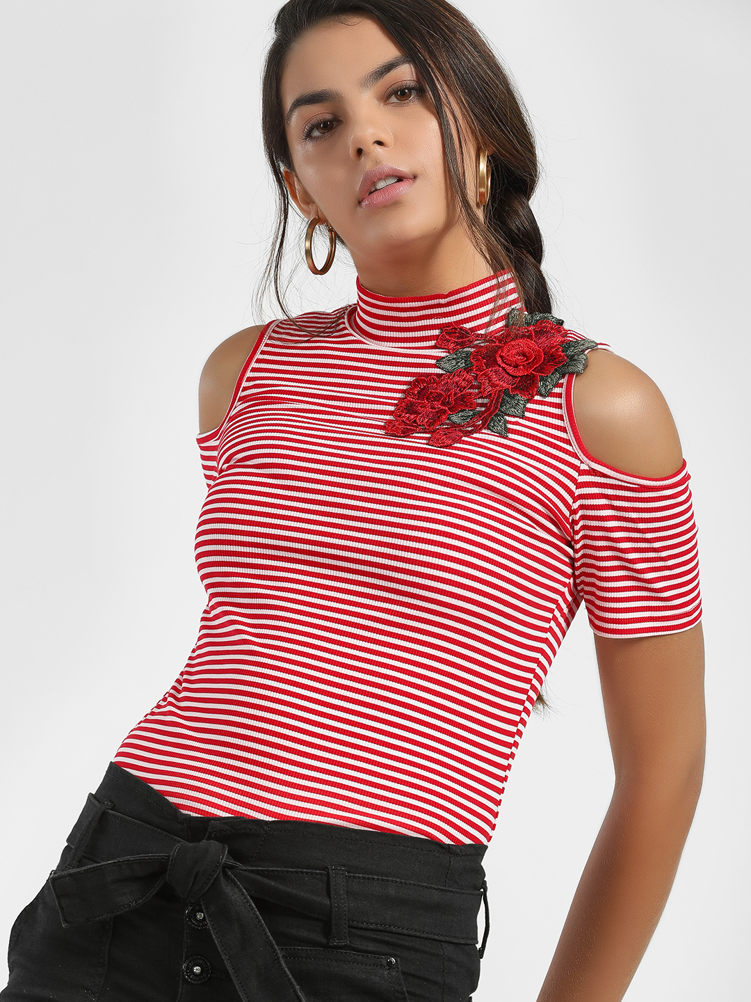 Jealous 21 Red Ribbed Stripe Applique Turtleneck Top 1