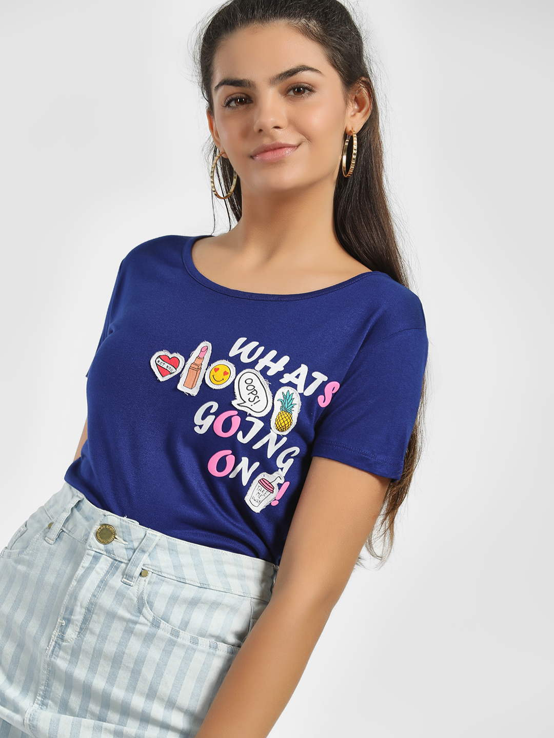 Jealous 21 Dark Blue What's Going On Print Patchwork T-Shirt 1