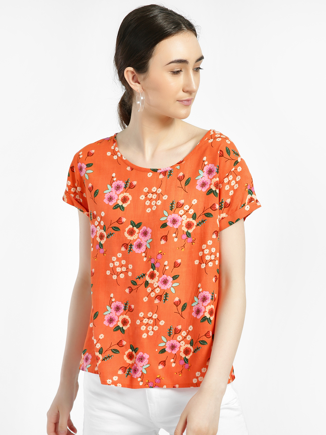 Jealous 21 Coral Floral Print Short Sleeve Top 1