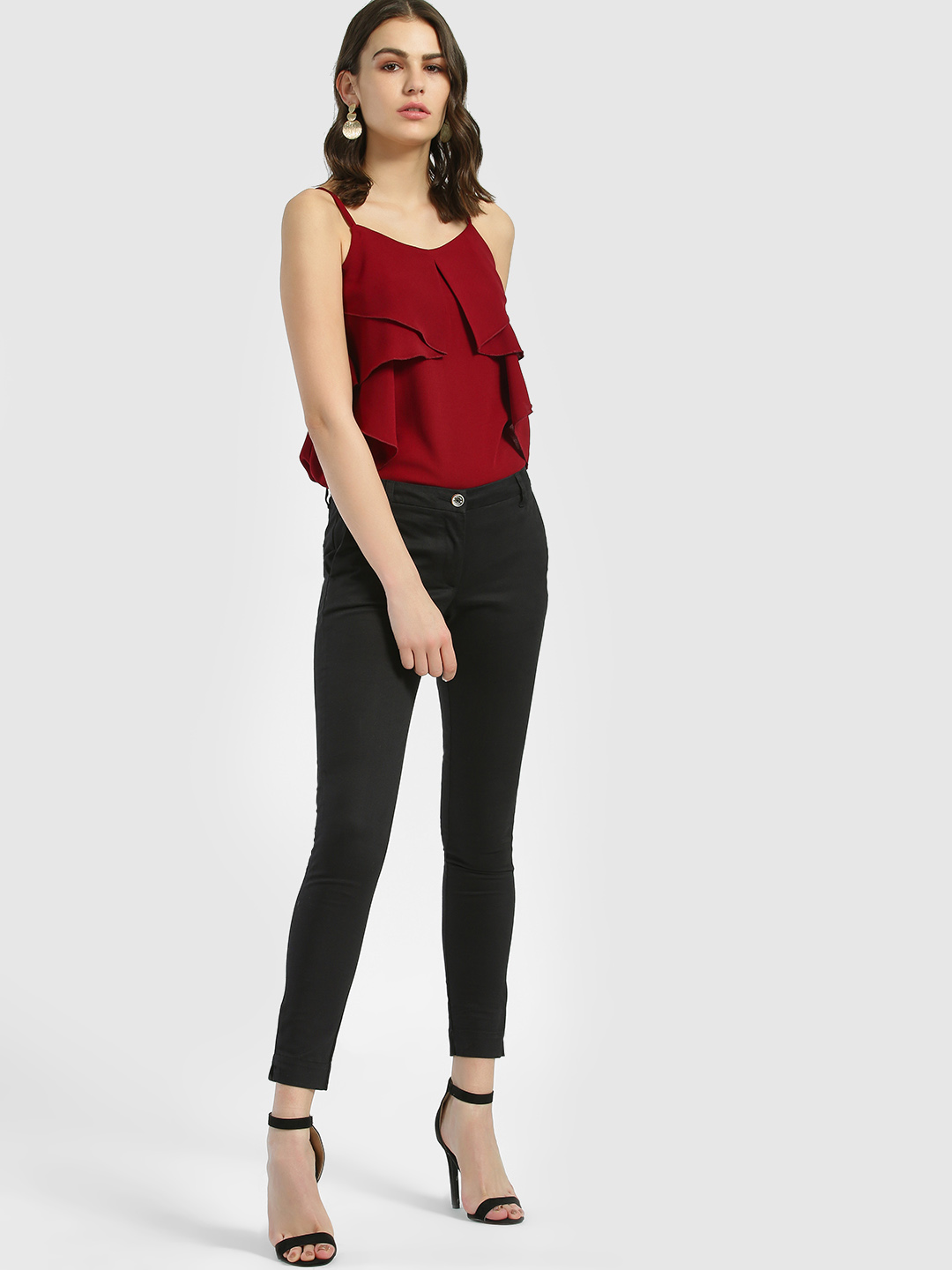 SCULLERS FOR HER Black Basic Skinny Cropped Trousers 1