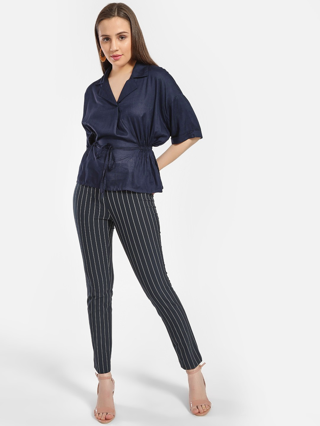 SCULLERS FOR HER Blue Vertical Stripe Skinny Trousers 1