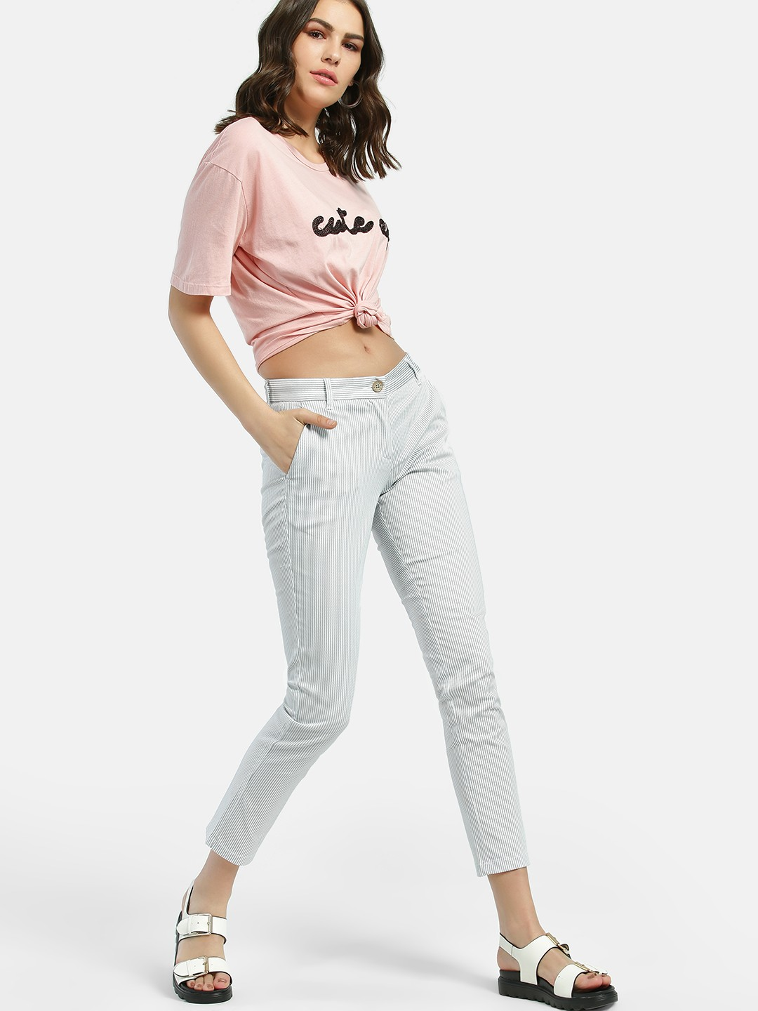 SCULLERS FOR HER White Dot Pinstripe Cropped Skinny Trousers 1