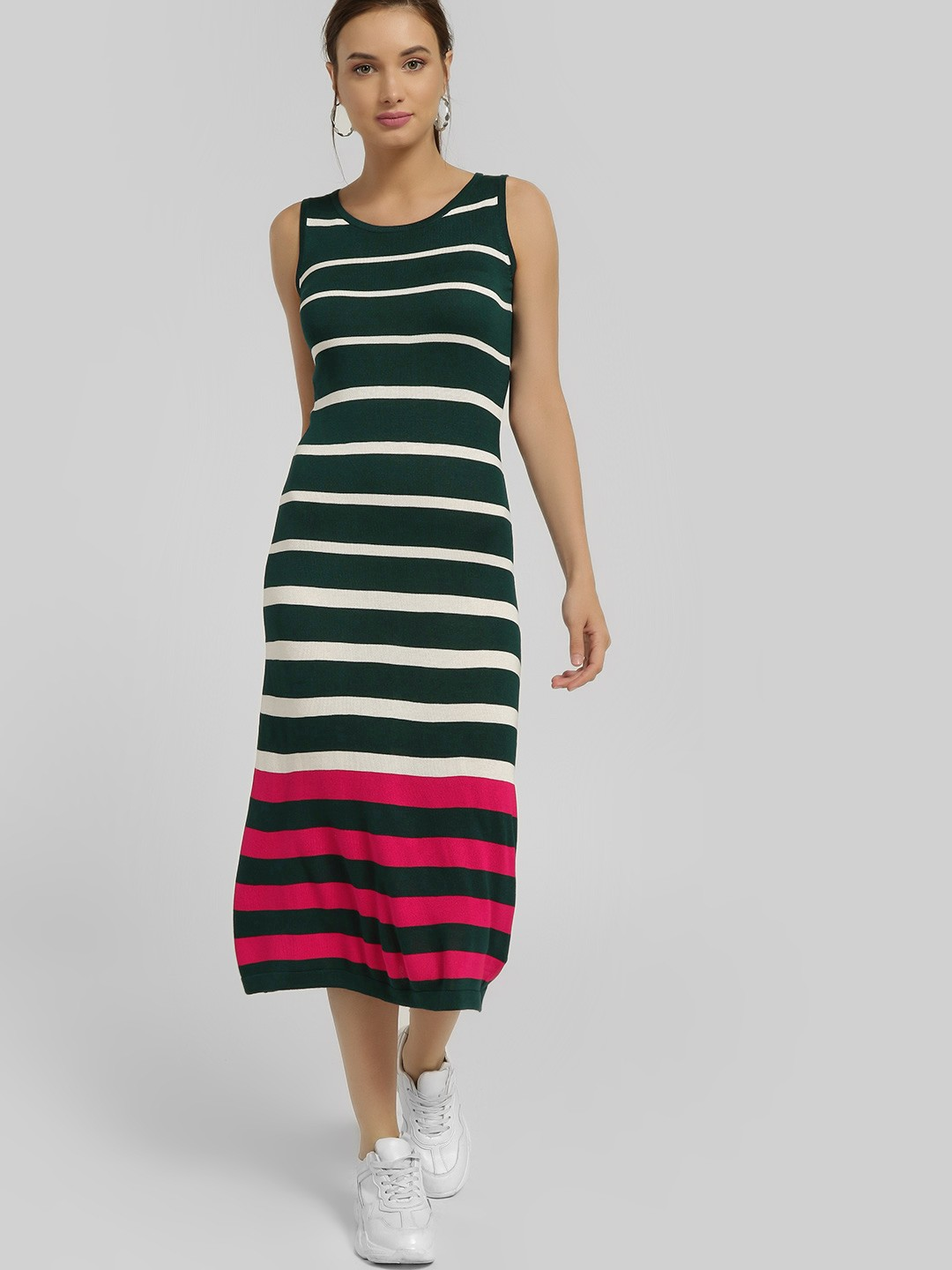 SCULLERS FOR HER Green Horizontal Stripe Midi Dress 1