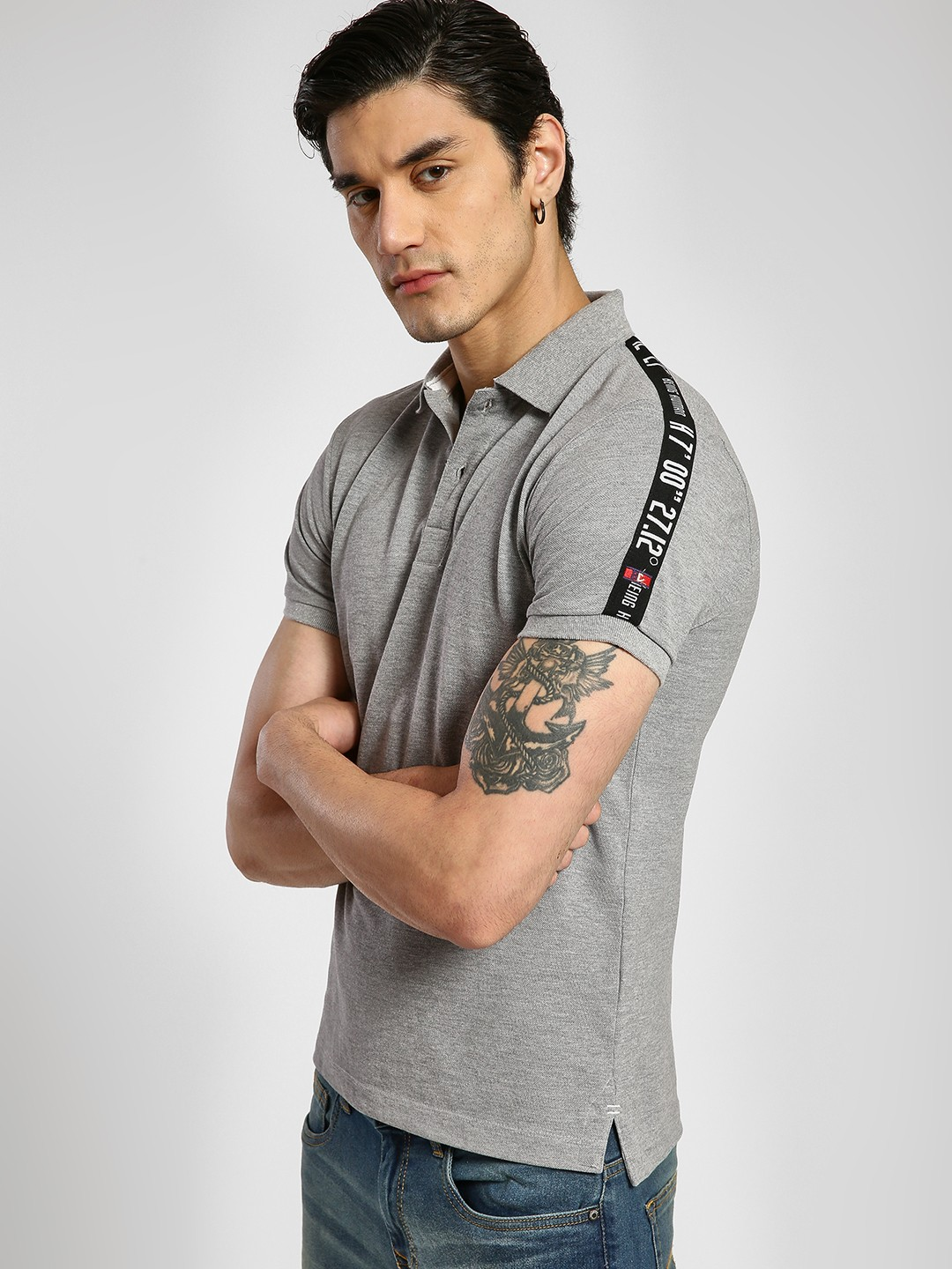 Being Human Grey Contrast Side Tape Polo Shirt 1