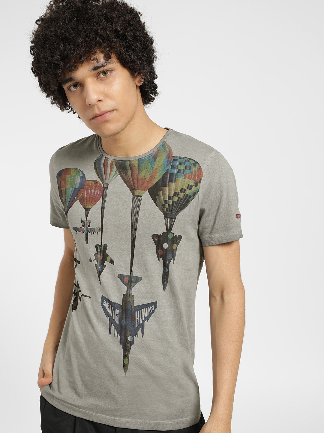 Being Human Grey Parachute Fly Print T-Shirt 1