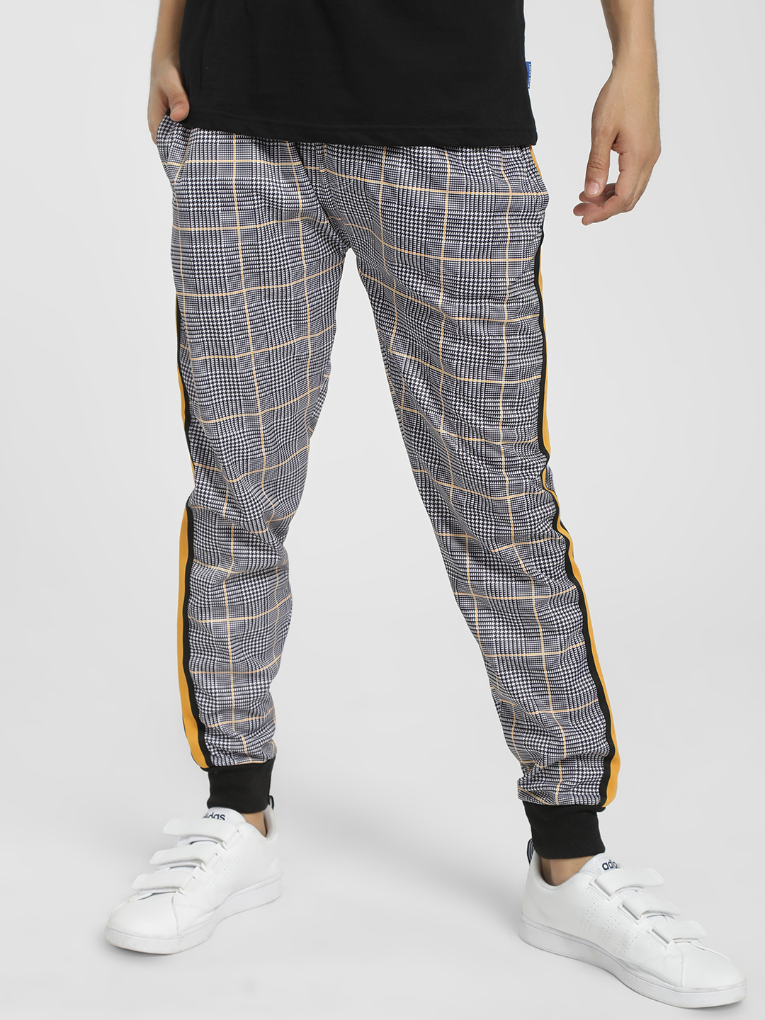 Soulstar Yellow Glen Check Side Tape Joggers 1
