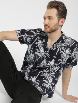 Soulstar Cuban Collar Tropical Print Shirt