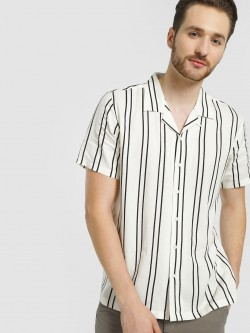Soulstar Cuban Collar Vertical Stripe Shirt