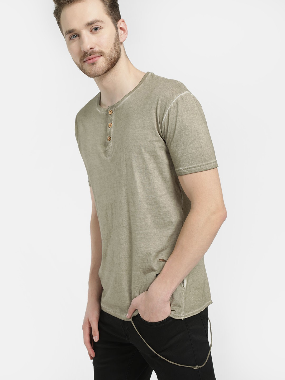 Soulstar Green Loose String Distressed Henley T-Shirt 1