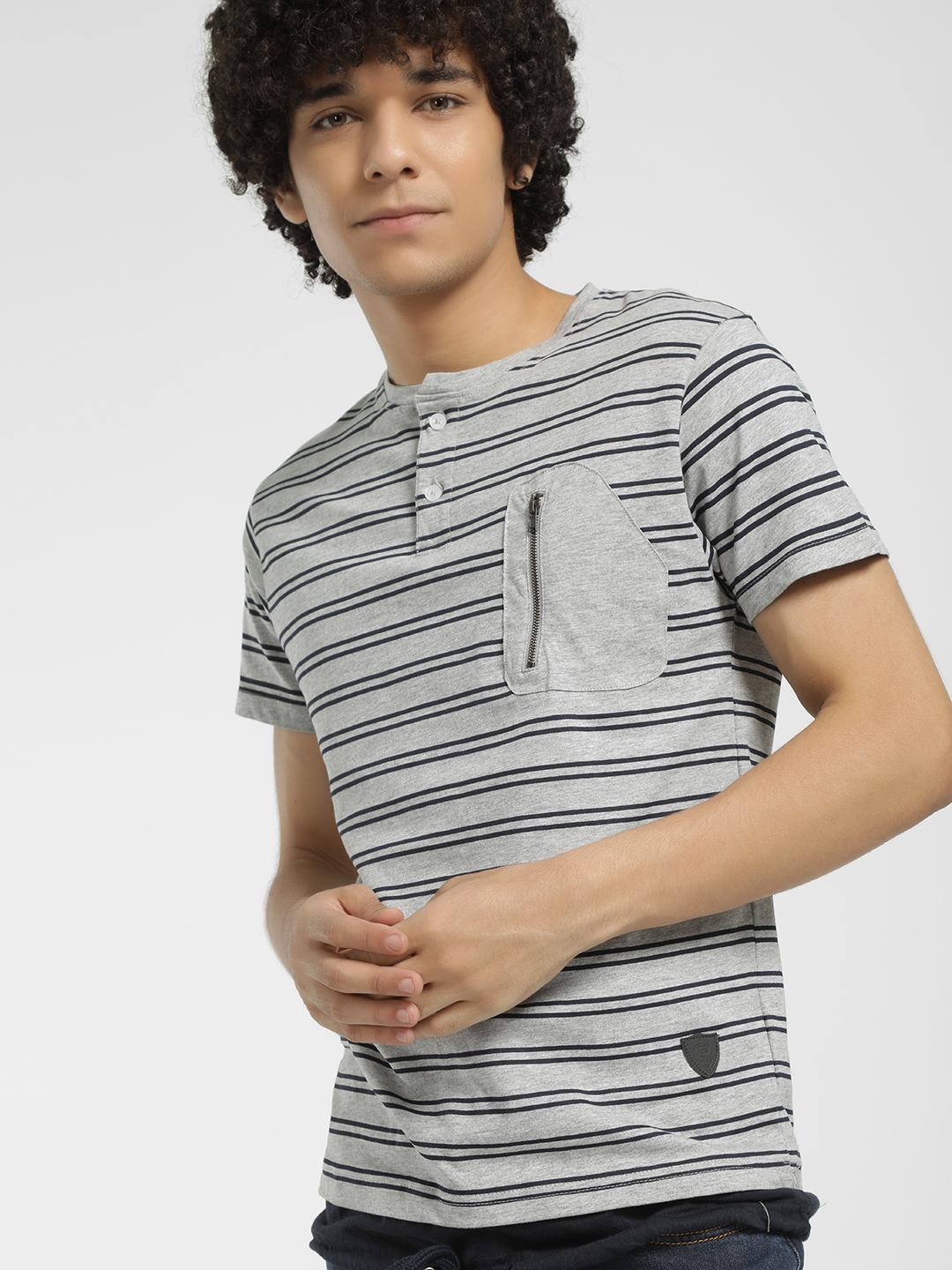 Soulstar Grey Horizontal Stripe T-Shirt 1