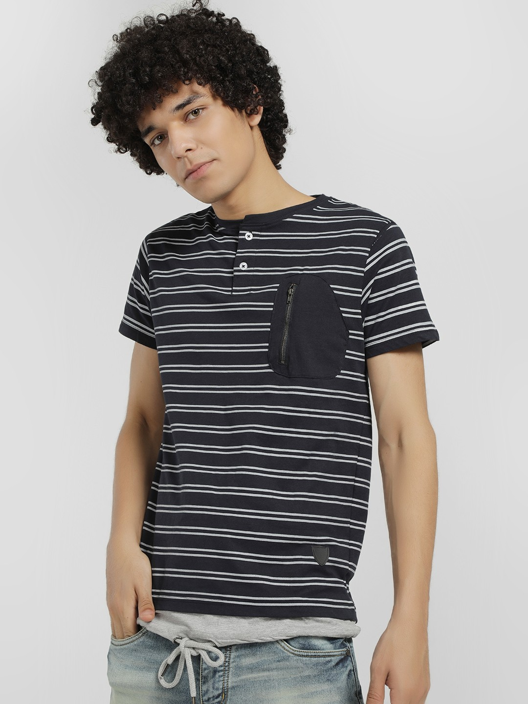 Soulstar Navy Horizontal Stripe T-Shirt 1