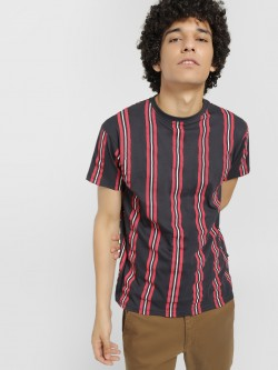 Soulstar Vertical Stripe Crew Neck T-Shirt