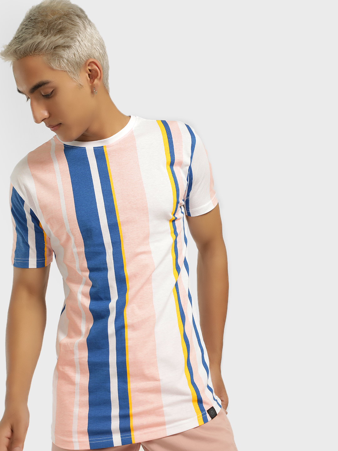 Soulstar Pink Crew Neck Vertical Stripe T-Shirt 1