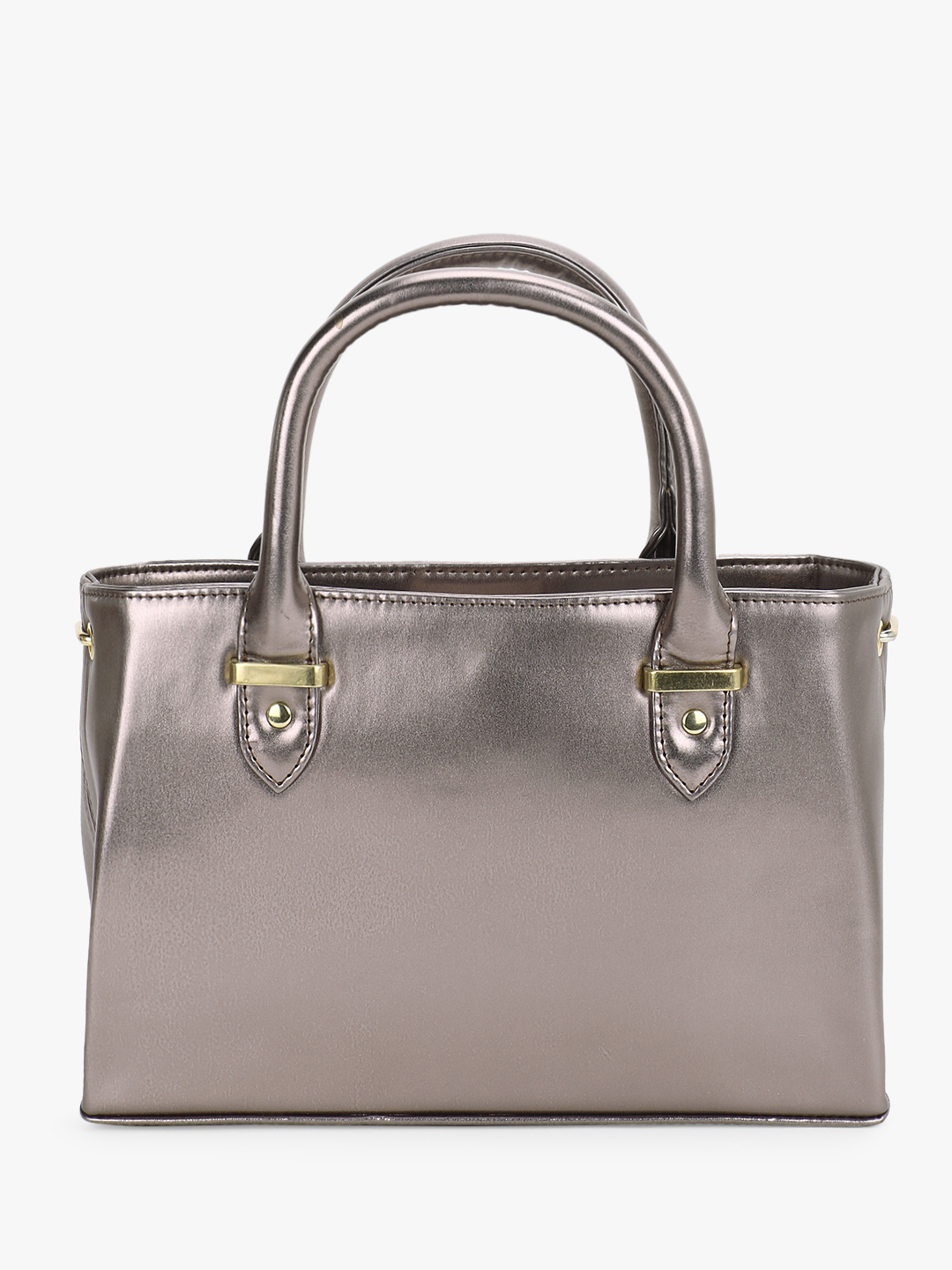 Gusto Grey Metallic Handbag 1