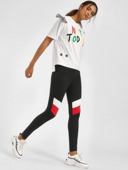 KOOVS Colour Block Panelled Leggings