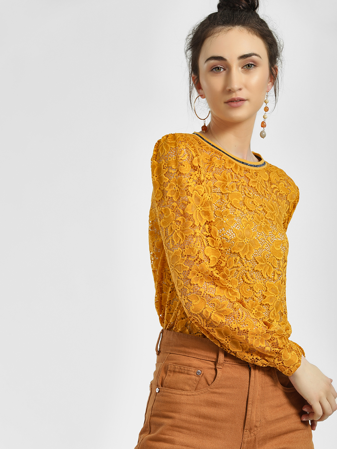 Only Yellow Lace Detail Balloon Sleeve Blouse 1