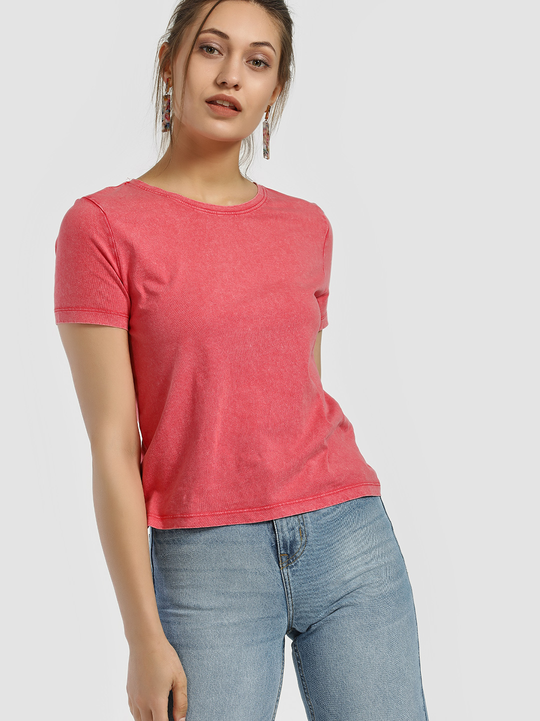 Only Pink Washed Crop T-Shirt 1