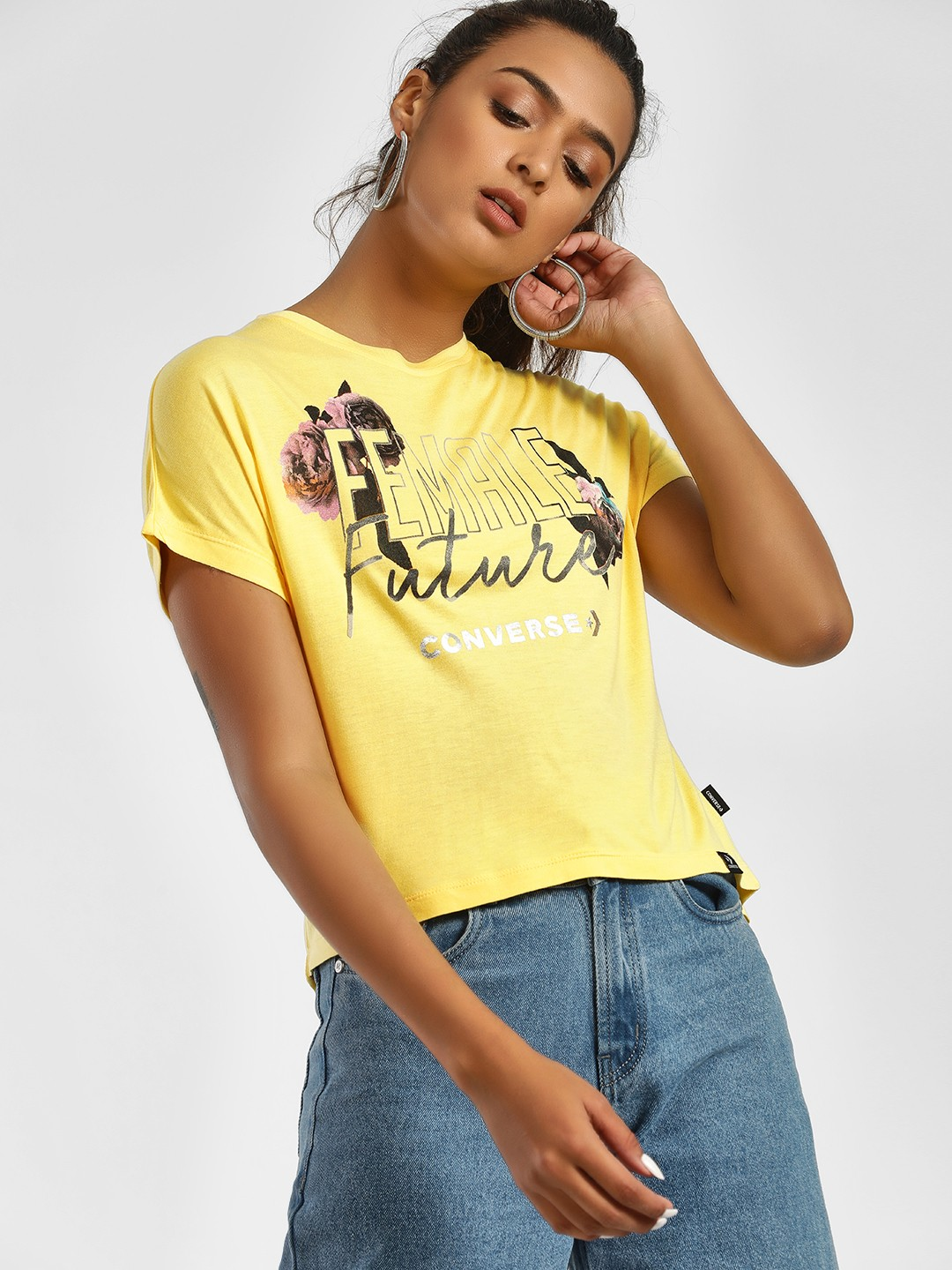 Converse Yellow Female Future Rose Print T-Shirt 1