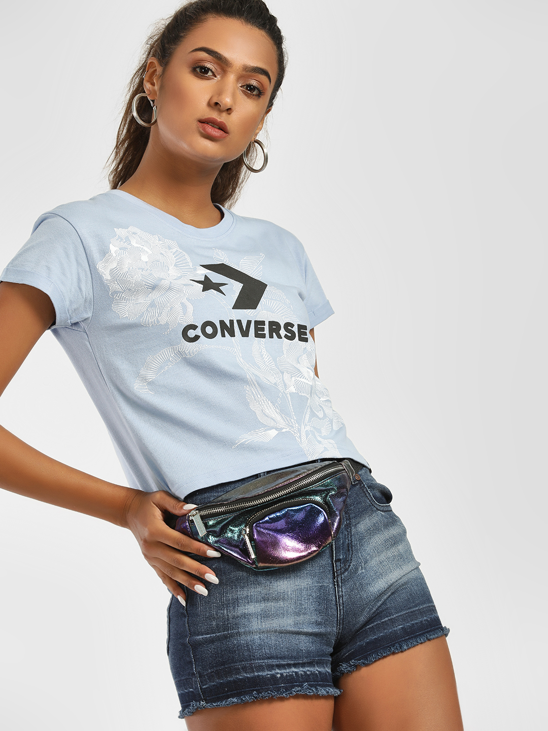 Converse Blue Rose Logo Print Crop T-Shirt 1