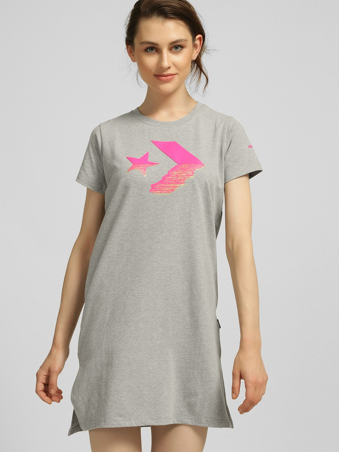 Converse Grey Rubberised Logo Print T-Shirt Dress 1