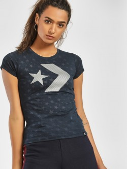Converse Rubberised Metallic Logo Print T-Shirt