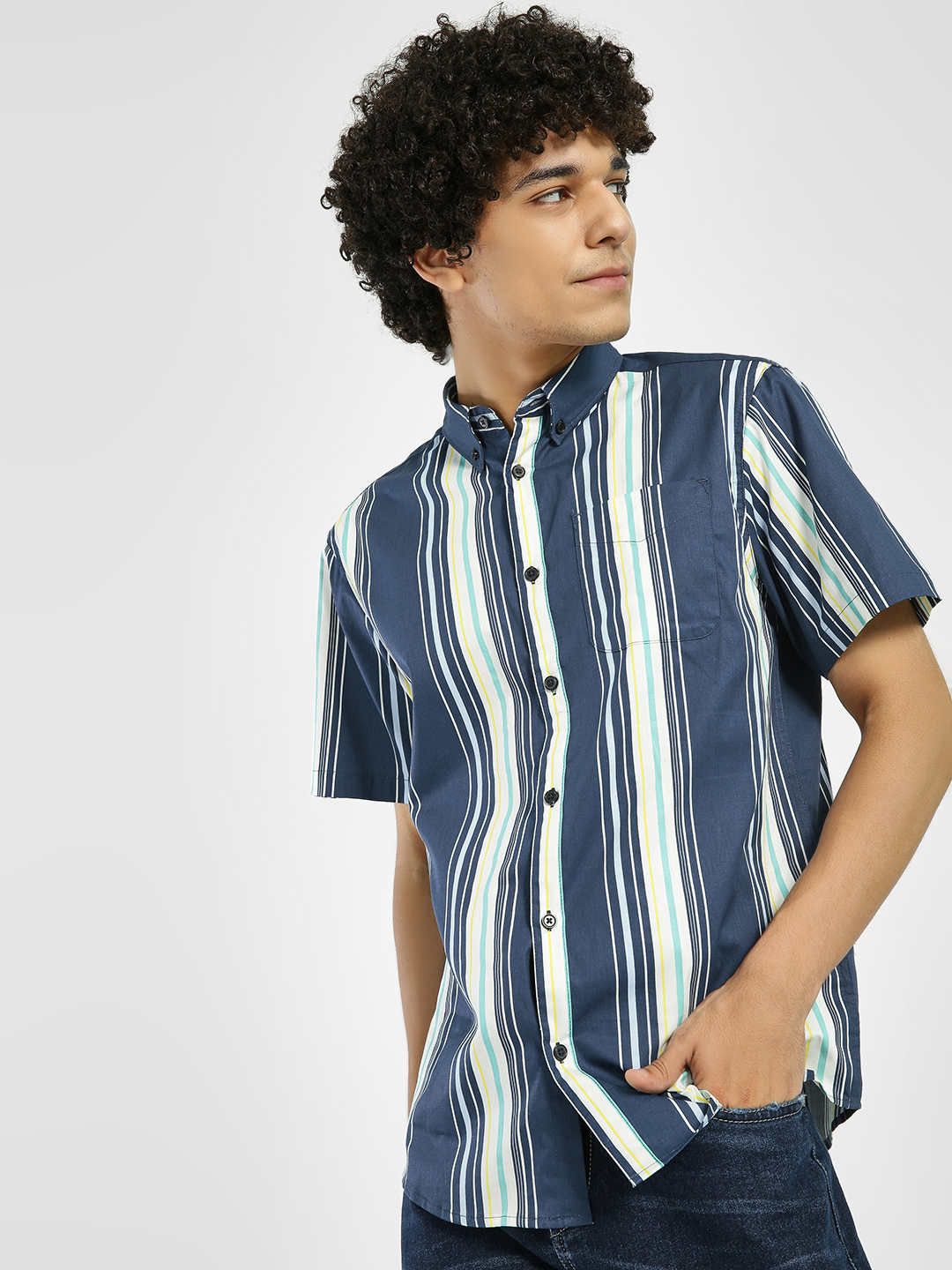 D-Struct Blue Vertical Stripe Short Sleeve Shirt 1