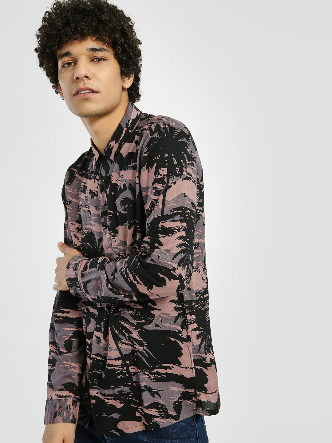 D-Struct Black Tropical Palm Print Shirt 1