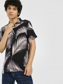 D-Struct Large Leaf Print Cuban Collar Shirt