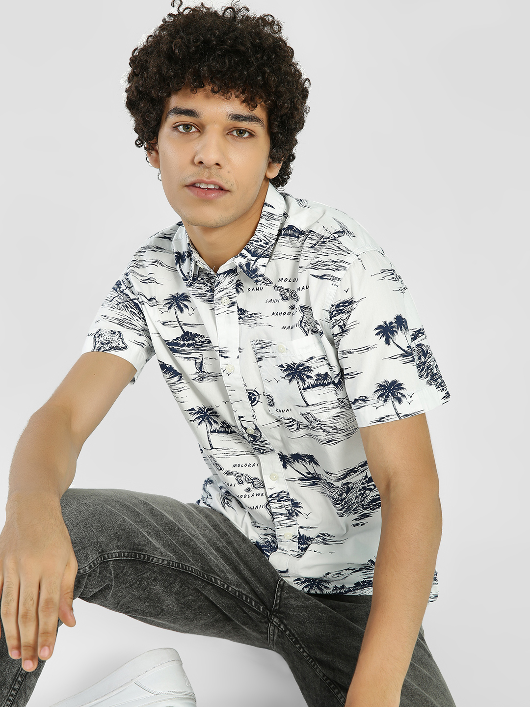 D-Struct White Palm Island Print Shirt 1