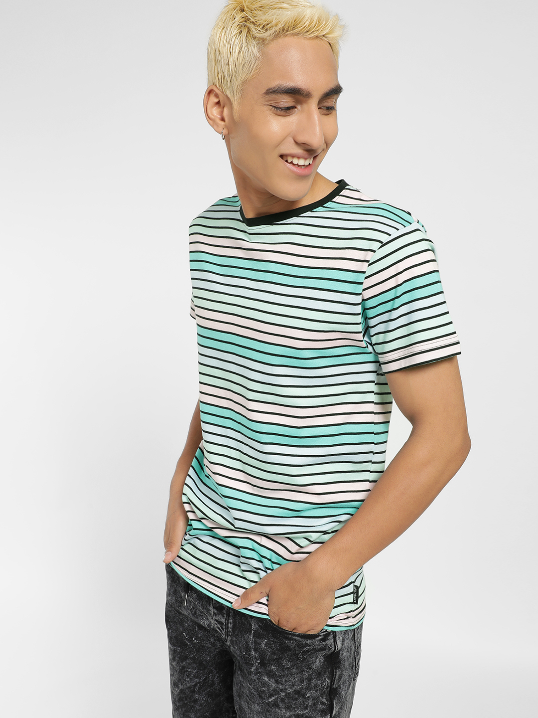 D-Struct Multi Horizontal Stripe Short Sleeve T-Shirt 1
