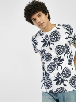 D-Struct Pineapple Print Crew Neck T-Shirt