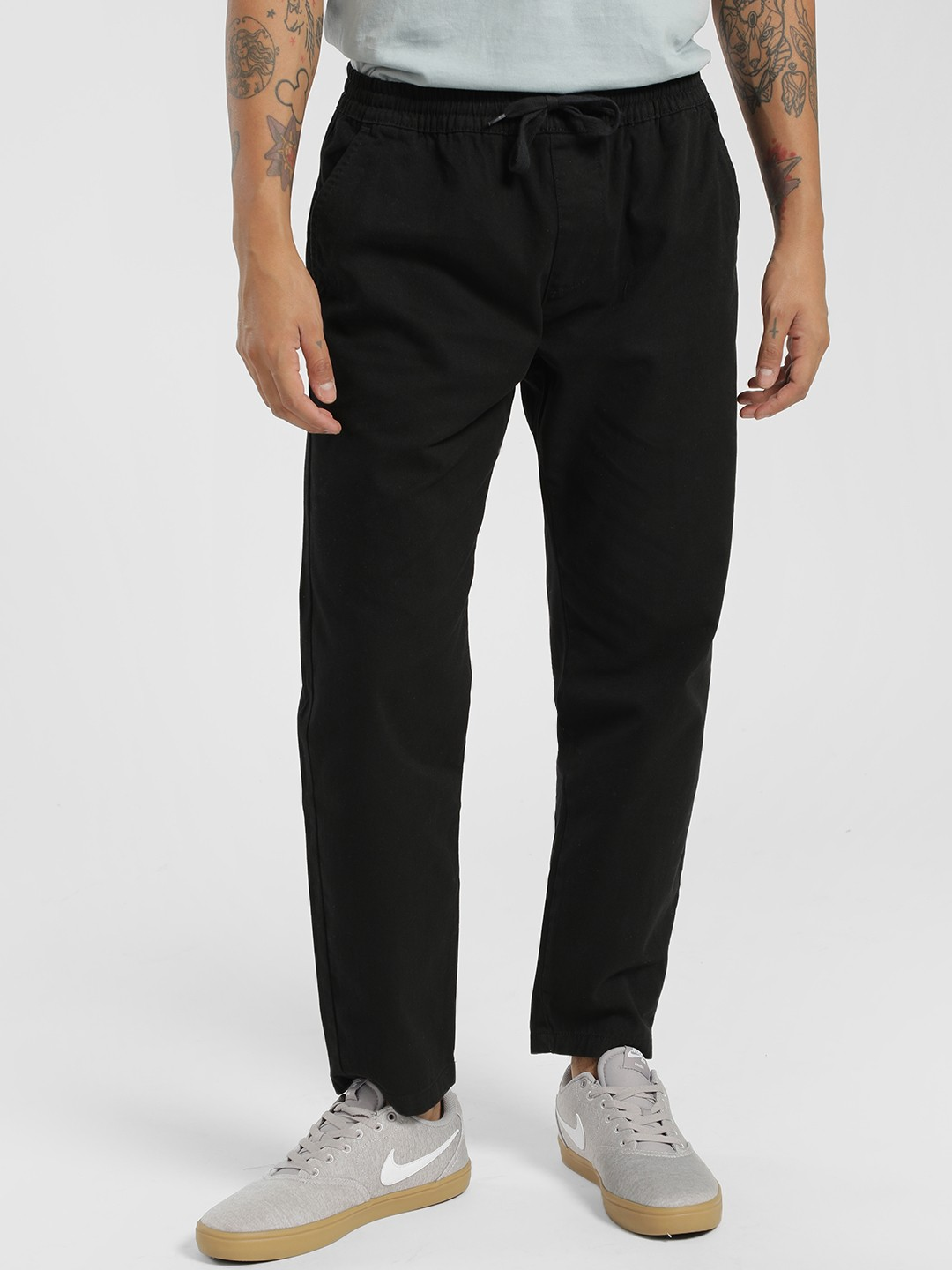 D-Struct Black Elasticated Waistband Twill Trousers 1