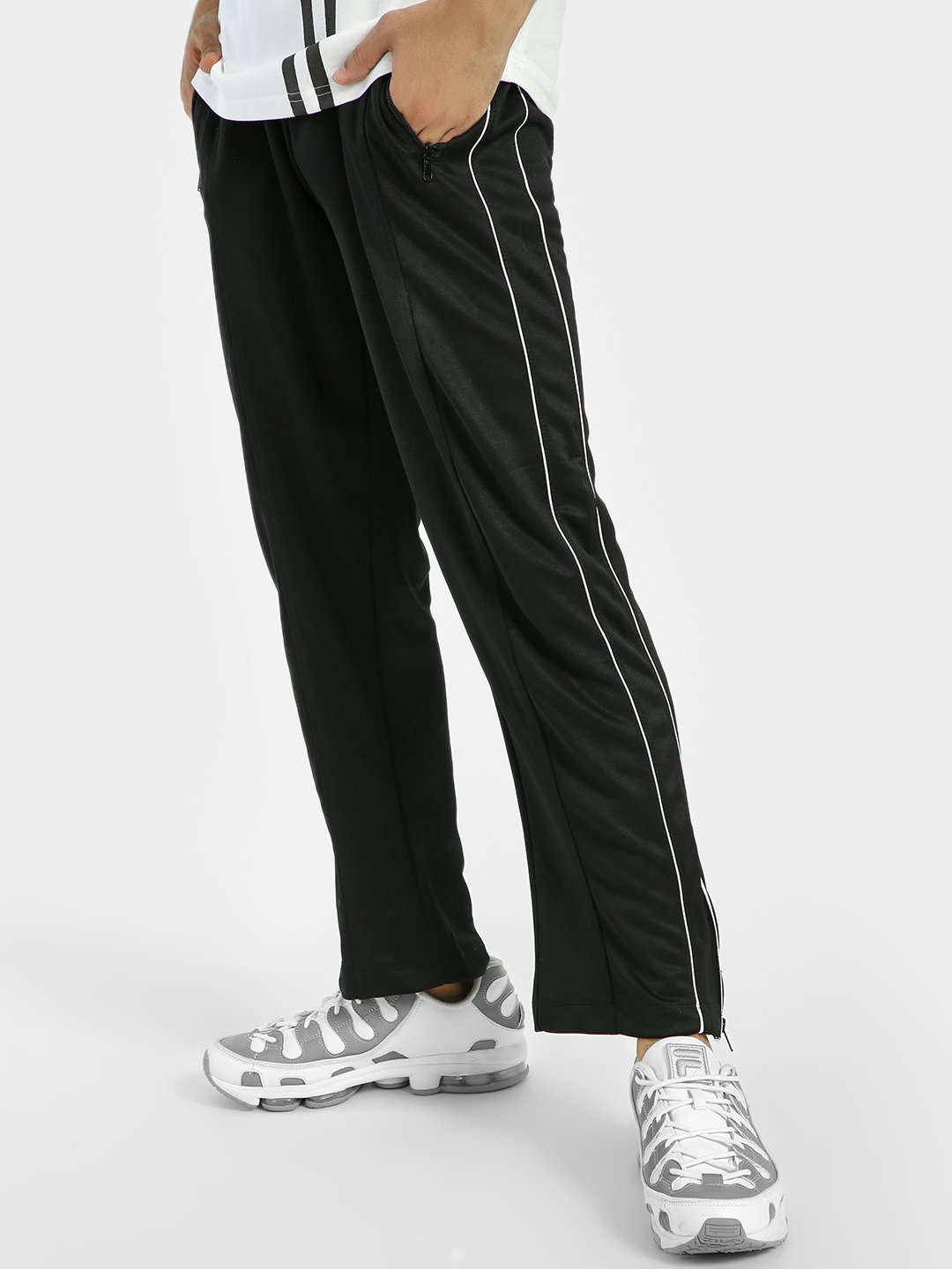 D-Struct Black Contrast Side Piping Track Pants 1