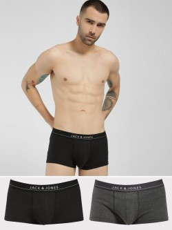 Jack & Jones Logo Print Waistband Trunks (Pack Of 2)