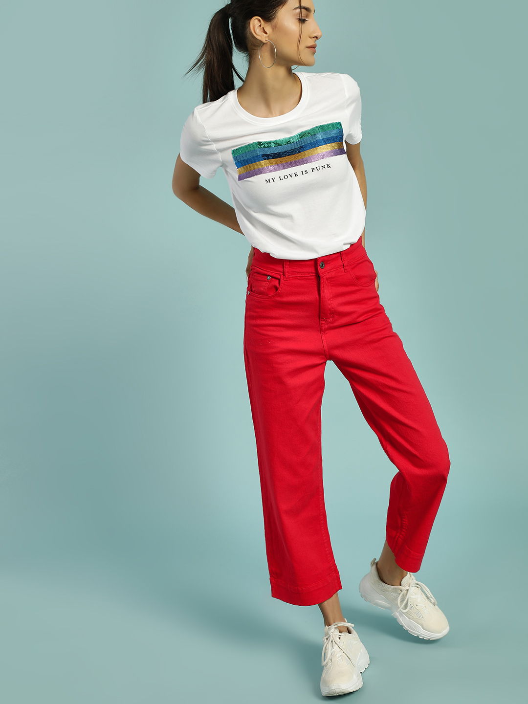 K Denim Red KOOVS Basic Cropped Flared Jeans 1