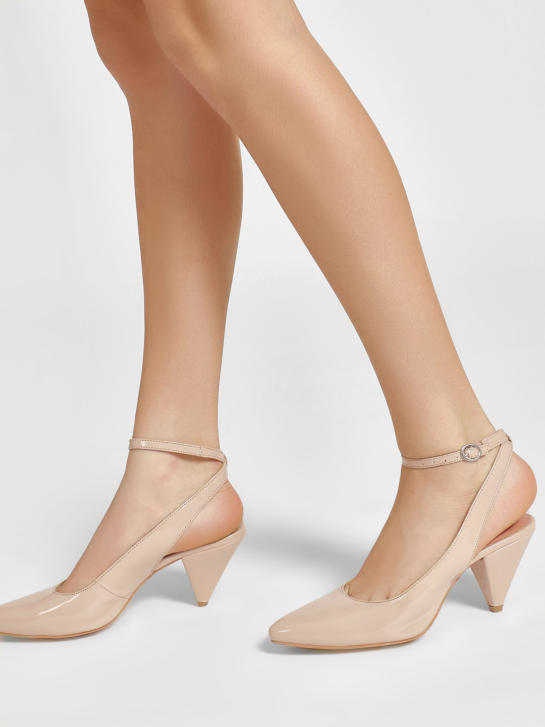 KOOVS Nude Patent Cone Heeled Shoes 1
