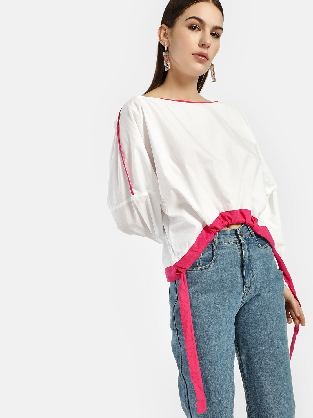 Beyond Clouds White Contrast Piping Oversized Blouse 1