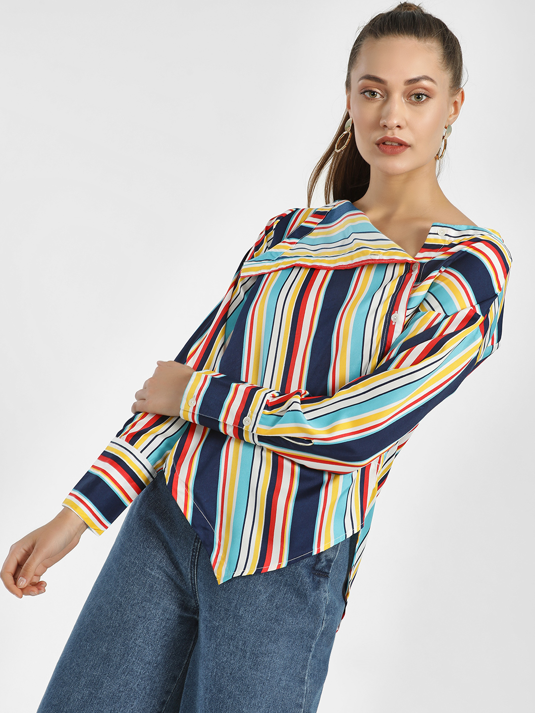 Beyond Clouds Multi Multi-Stripe Asymmetric Hem Shirt 1
