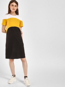 Beyond Clouds Colour Block Shift Dress