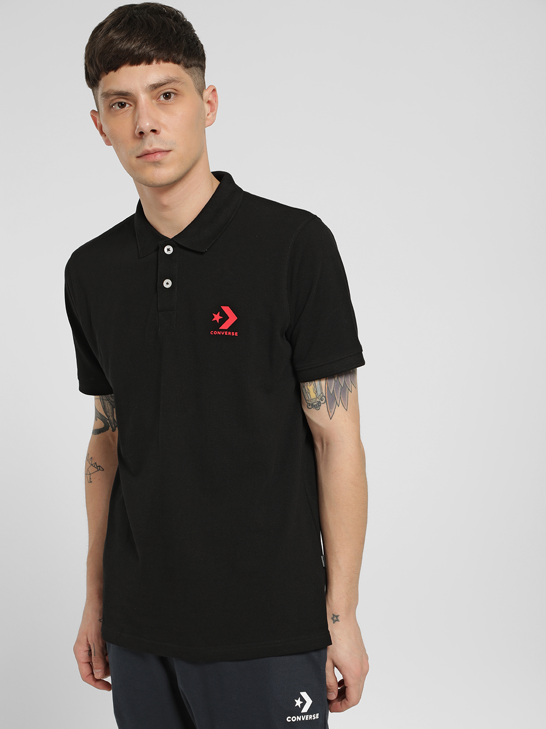 Converse Black Rubberised Logo Polo Shirt 1