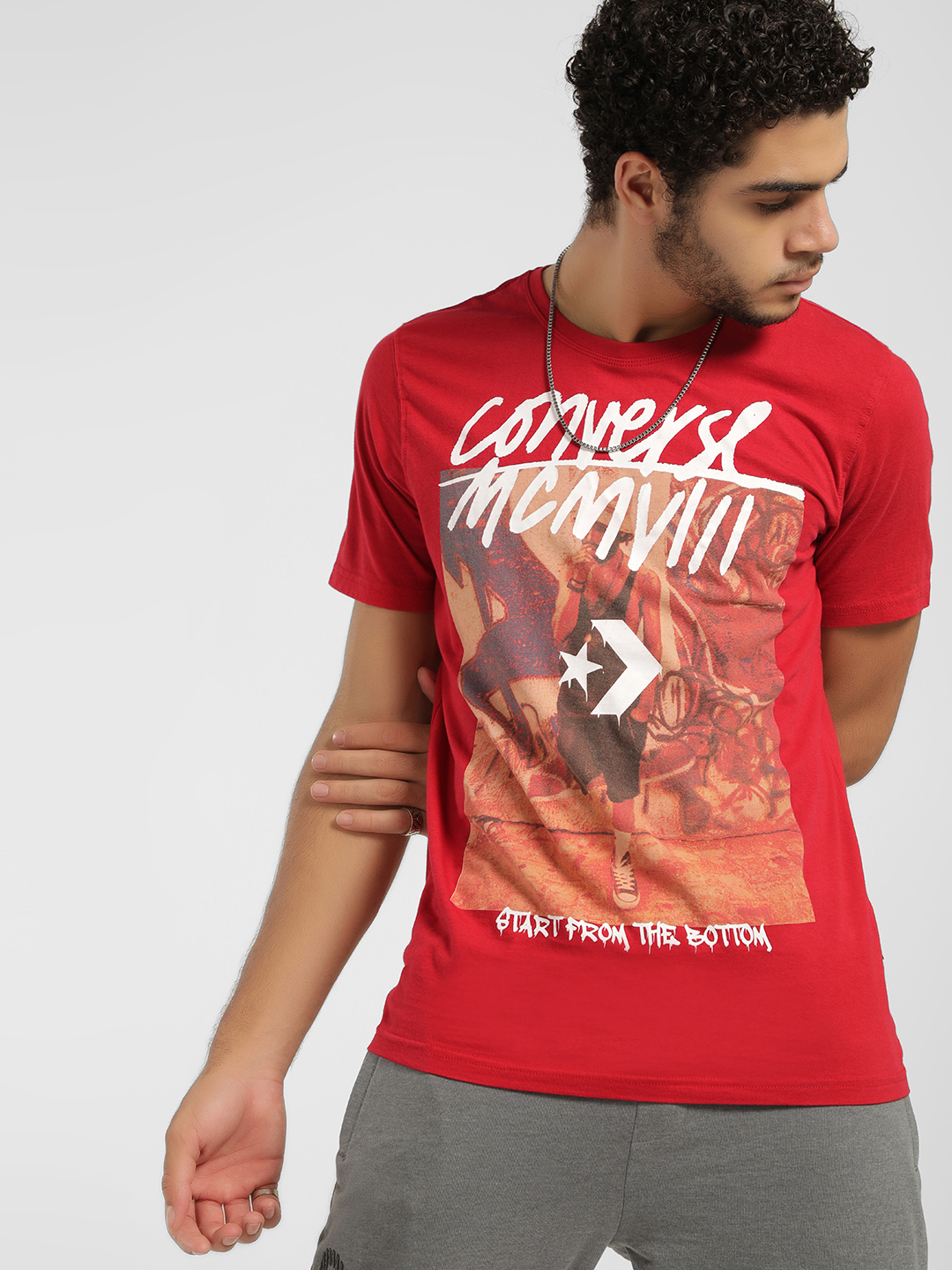 Converse Red Graphic Placement Print Logo T-Shirt 1