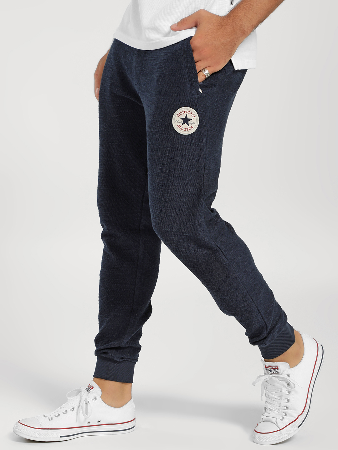 Converse Blue Logo Badge Knitted Joggers 1