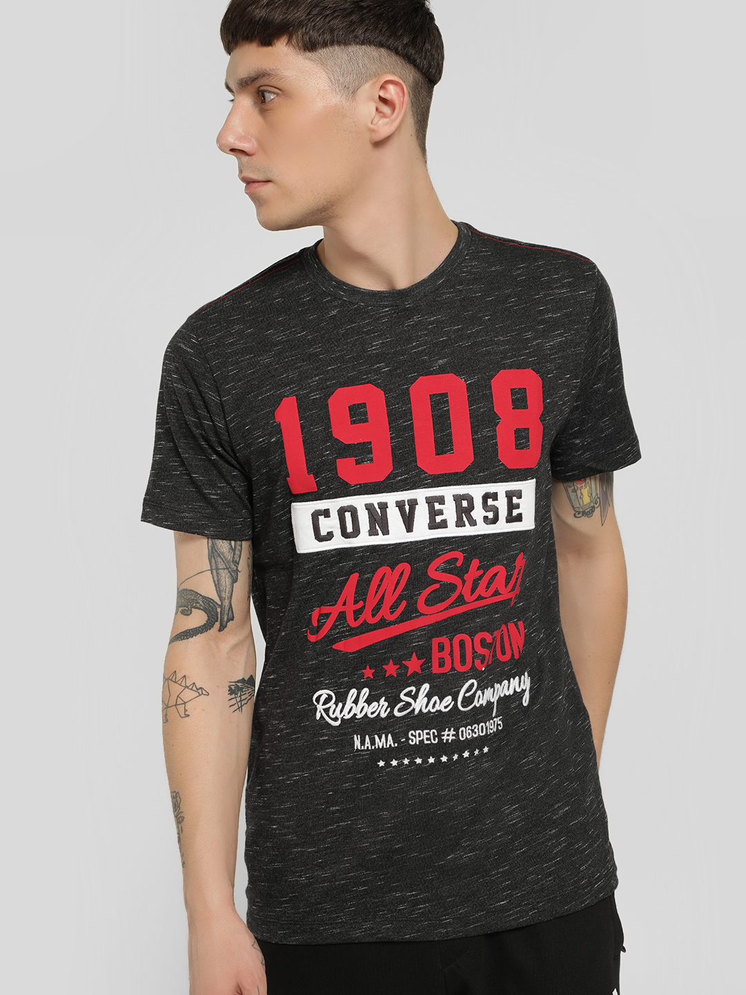 Converse Black Embroidered Patch Slogan Print T-Shirt 1