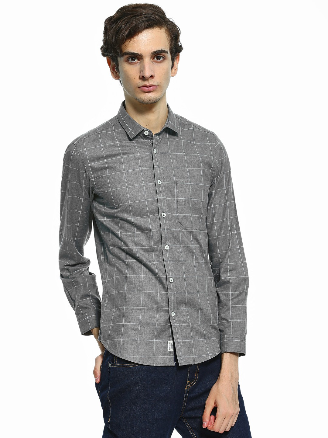 Indigo Nation Grey Windowpane Check Formal Smart Shirt 1