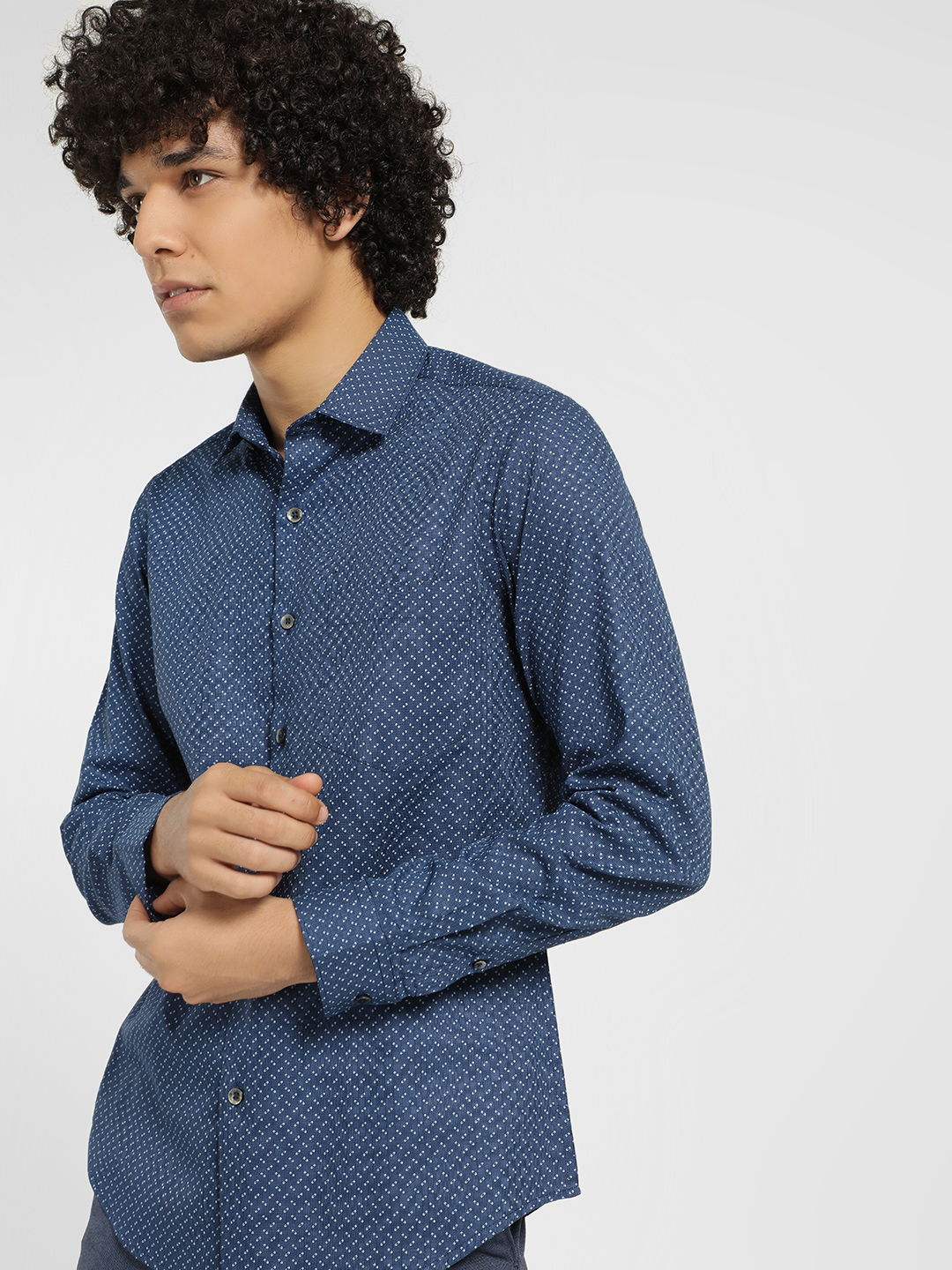 Indigo Nation Blue All Over Print Formal Shirt 1